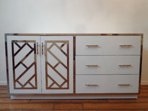 Cabinet Chinese Chippendale Dresser Chest Vintage Chrome Console Buffet Server