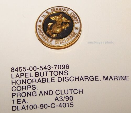 United States Marine Corps Honorable Discharge Lapel Pin USMC Button Hat w P38Marine Corps - 66531