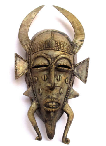 Cote D'Ivoire Senufo Tribal Art, Brass Kpelie Mask, Old African Statue