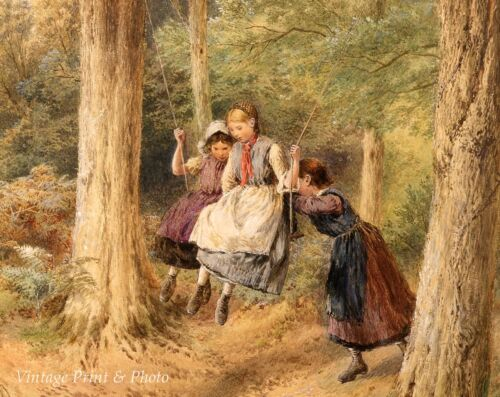 The Swing by M B Foster Art Country Children Girls Playing Woods 8x10 Print 315