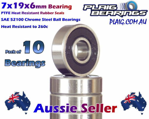 7x19x6mm Bearings (10) Precision Chrome Steel for Bicycle & Nitro Engines
