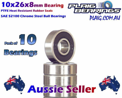 10x26x8mm Bearings (10) Precision Chrome Steel for Bicycle & RC 6000-2RS