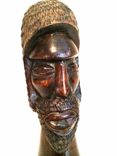 Folk Art Sculpture African Bust Hand Carved Wood Dated 1993 8.5 inches Tall
