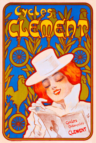 Cycles Clement Bicycle France French Nouveau Advertisement Art Poster Print