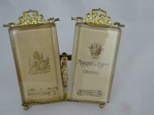 Antique French Beveled Glass Gilded Bronze Double Photo Frame - 19th -Louis XVI