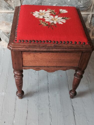"""Antique Wood Foot Stool Sewing Box 16"""" Tall  Daisies on Orange Wood Needlepoint"""