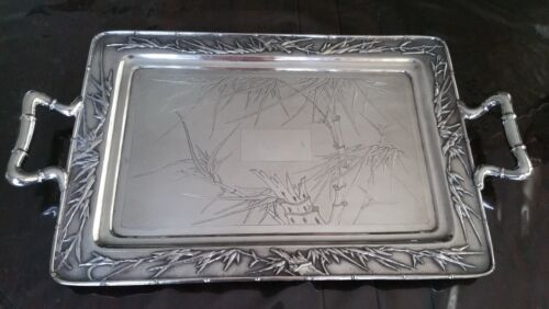 Antique Chinese Export Sterling Silver Bamboo Decorations Tray 50 x 30 cm 1887g