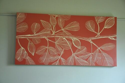 """""""TROPICANA""""-LARGE WOODEN WALL ART-SINGLE PANEL-OCHRE-CARVED TIMBER LEAVES-DECO"""