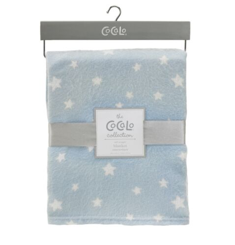 Baby Boys Blue & White Stars Cot Pram Nursery Blanket Cocalo Bedding