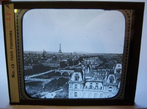 PARIS PANORAMA Eiffel Tower, Vintage B&W Magic Lantern Glass Slide