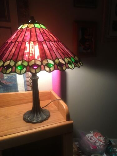Antique Tiffany Style Stained Glass Peacock Lamp and Shade Approximately  17 IN