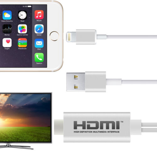 iPhone 5 6 7 and iPad 3G Lightning to HDMI Connector Adapter Cable TV Projector