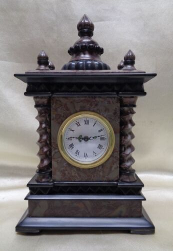 Beautiful Antique/ European Style Marble Clock  Ornate Pointed Top & Dotted Ring