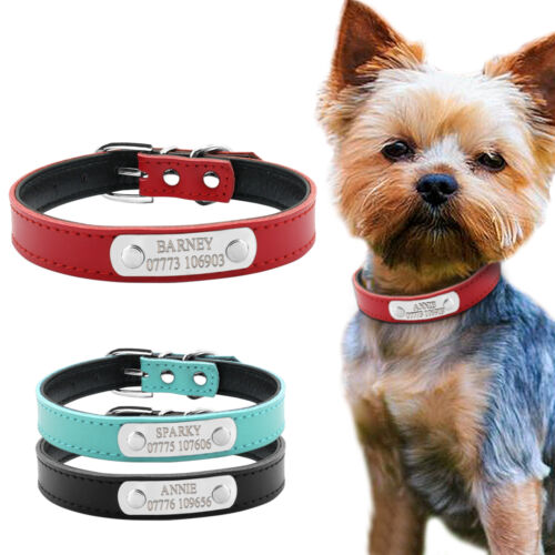 Leather Personalized Dog Collars Free Engraving Custom Cat Pet Name ID Collar