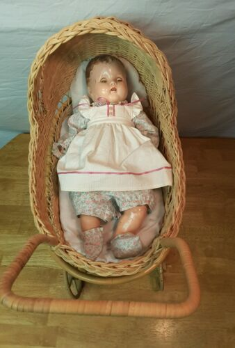 Vintage Wicker Stroller with Antique Composition Doll