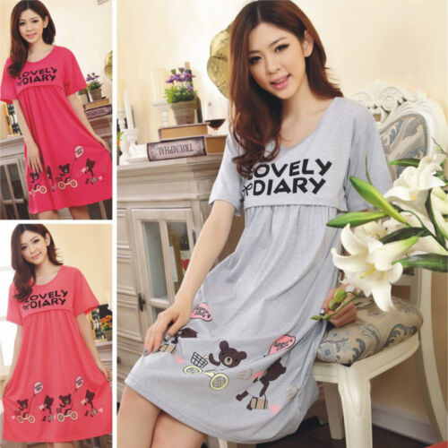 Pregnant Women Cute Casual Short Sleeve Dress Nursing Clothes Maternity Dresses