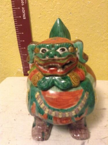 Vintage Ceramic Chinese Foo lion God Footed Incense Burner  MULTI Color