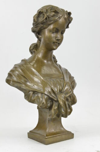 Elegant Original Signed  Bronze Marble Statue Nude Female Bust Sculpture Decor