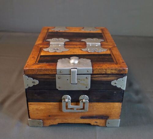 Very Rare Korean Joseon Dynasty Cosmetic Chest with BaekTong Deco Persimmon Wood