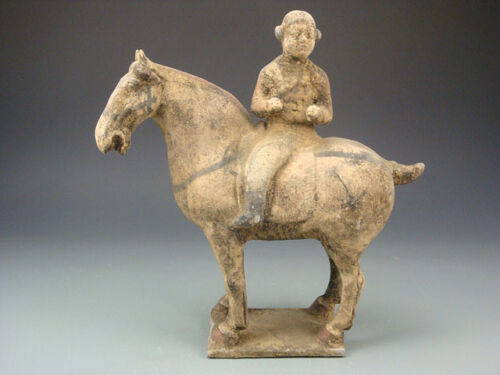 Ancient Chinese Rare Collectable Tang Dynasty Terracotta Pottery Horse And Rider