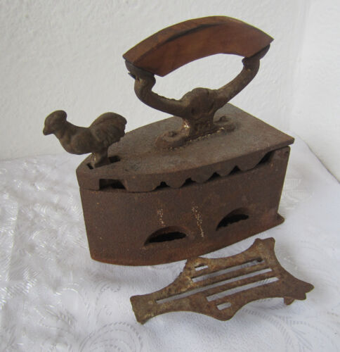 Antique Cast Iron Sad Coal Fired Clothes Press Iron with Rooster / bird + trivet