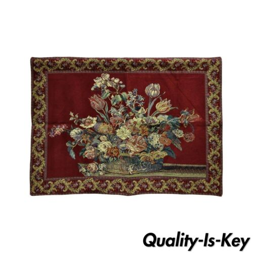 """51"""" x 36"""" French Wall Hanging Tapestry Jacquard Acanthus Floral Still Life Red"""