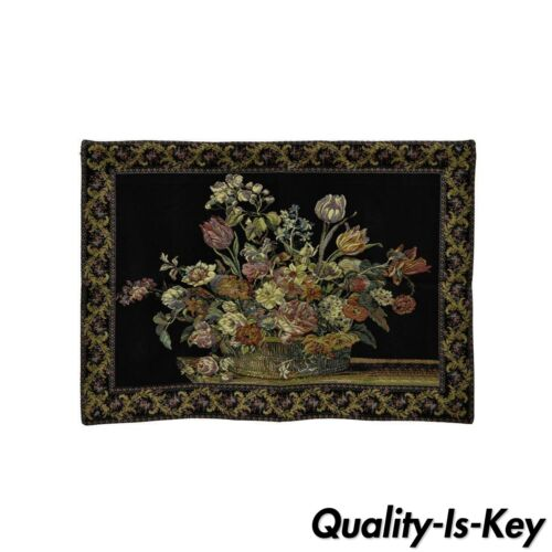 """51"""" x 36"""" French Wall Hanging Tapestry Jacquard Acanthus Floral Still Life Black"""