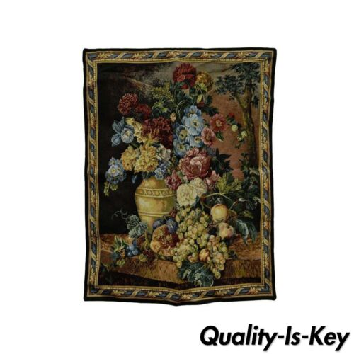 """30"""" x 26"""" French Wall Hanging Tapestry Jacquard Aubusson Floral Still Life"""