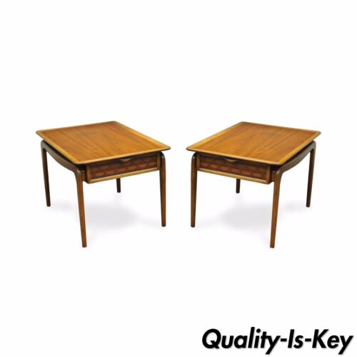 Pair of Lane Mid Century Modern Walnut Woven Drawer Brass Ball End Side Tables