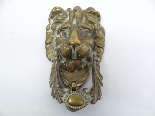 Antique Old Brass Metal Lion Head Heavy Front Door Knocker Hardware Used