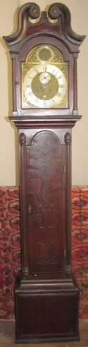 18TH CENTURY CHIPPEDALE PERIOD TALL CASE CLOCK WITH BRASS SAM WERNE MOVEMENT