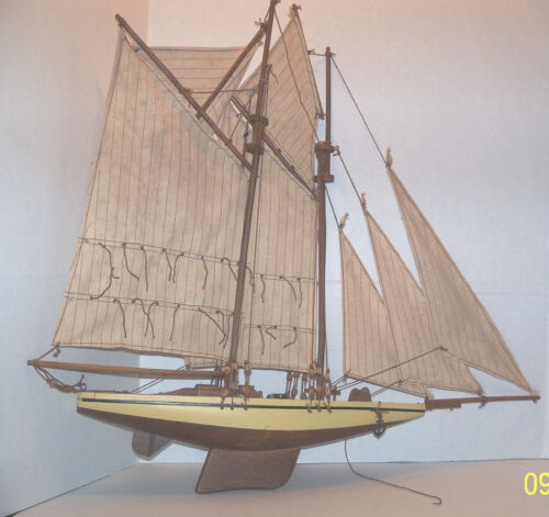 """Large wooden ship with sails hand made 23"""" x 24"""" wow markdown"""