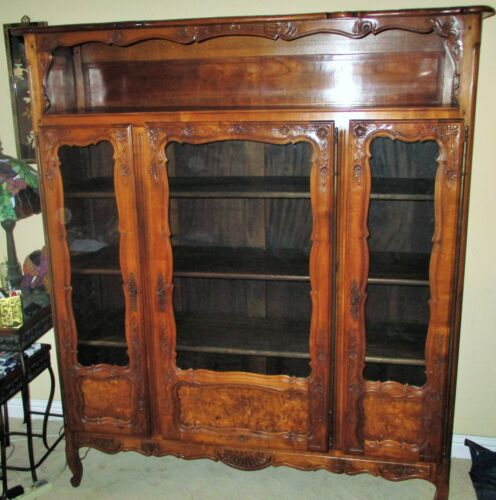Antique French Provincial Key Cupboard Glass Curio Cabinet Elm Wood Burl Carved!