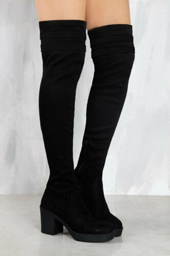 Lust For Life LFL Sleek All Black Block Heel Thigh High Casual Fashion Boots