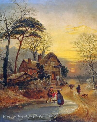 A Winter Evening by George A Williams - Art Frozen Pond Cottage  8x10 Print 0600