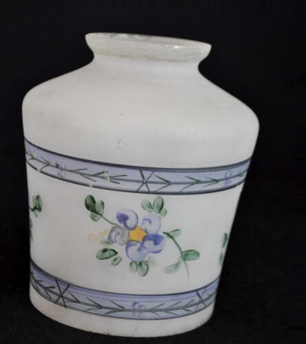 Vintage Antique Reverse Painted Satin Frosted Glass Lamp Shade Floral Flowers
