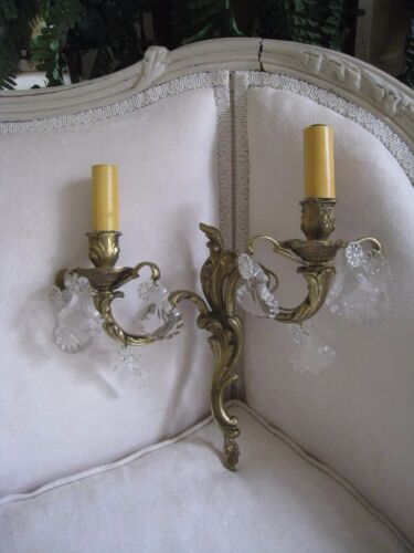 1~ANTIQUE FRENCH BRONZE 2 LIGHTED PRISMS BLING BLING WALL SCONCE #125