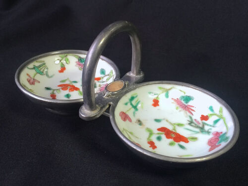 Chinese Republic Period Famille Rose Porcelain Pewter Agate Open Double Salt