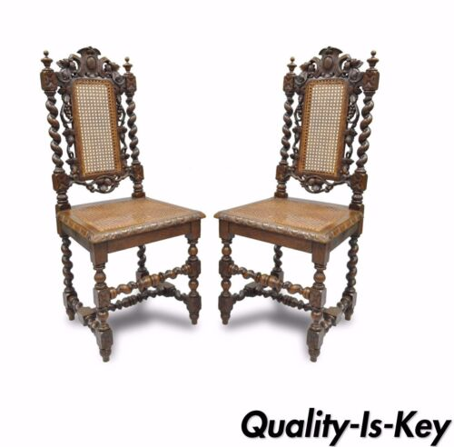 Antique Pair of Renaissance Revival Carved Oak Barley Twist & Cane Side Chairs A