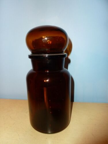 1 ONE VINTAGE BELGIUM BROWN GLASS APOTHECARY CANISTER JARS WITH BUBBLE TOP LID
