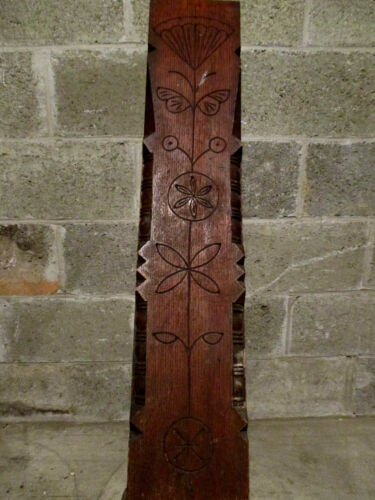 ~ ANTIQUE CARVED OAK NEWEL POST 45 TALL ~  ARCHITECTURAL SALVAGE ~