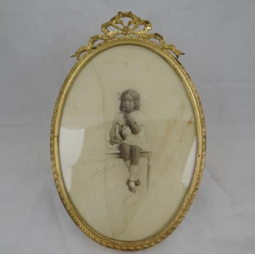 """Antique French Gilt Bronze Ribbons Oval Picture Frame -  8.27 x 5.31 """""""