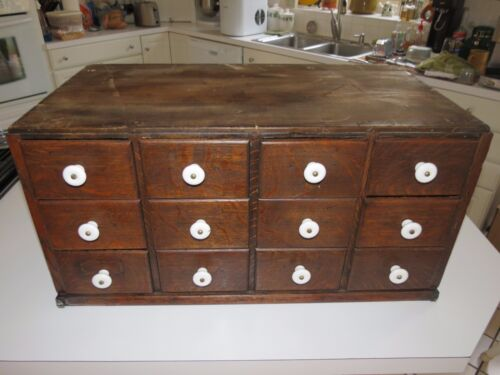 Antique 12 Drawer Oak Wood Library Card File Apothecary Spice Box Cabinet