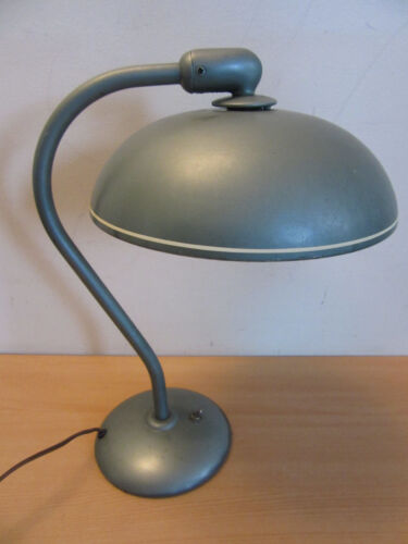 Vintage Industrial 1940s' Art Deco / Modernist Curved arm steel desk table lamp