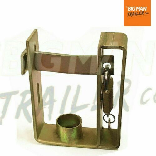 Trailer Hitch Coupling Lock Heavy Duty 2 Stage Universal Security + Padlock  SB