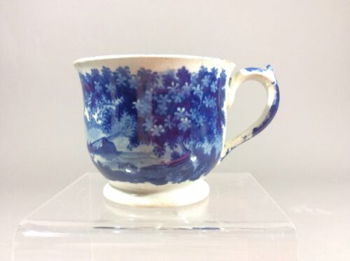 Antique Clews Blue Historical Staffordshire Fishing Pattern Tea Cup 1830