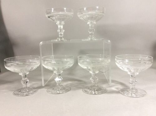 Antique Dorfinger Set Of 6 Cut Glass Champagne Stems Sherry Wind Glass
