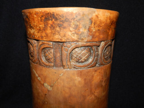 Mayan Cosmic and Serpent Cylinder, Carved Glyph Band, Authentic Pre-Columbian