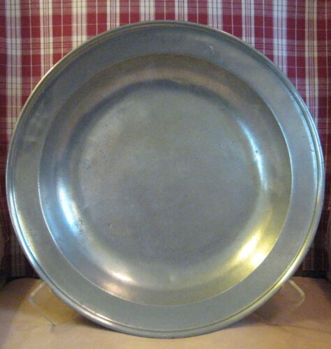 """Large 18th Century Pewter Deep Dish 16-1/4"""" Diameter with Hand Hammered Booge"""