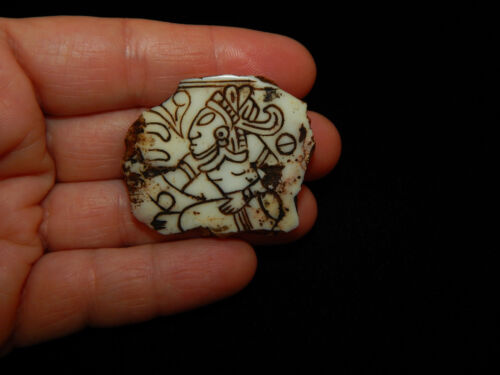 Pre-Columbian Carved Mayan Fragment, Carved Shell Fragment, Authentic